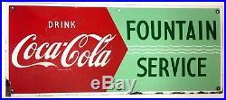 Vintage Rare 1940-50s Drink Coca Cola Fountain Service Coke Sign-Metal