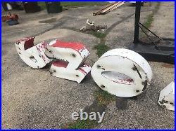 Vintage Rare 1950's Firestone Metal Neon Porcelain Sign Letters Bellows Parts