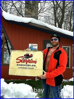 Vintage Rare Early Metal Outboard Scorpion Snowmobile Sign With GR8 Graphic