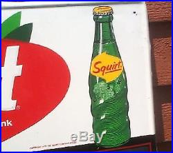 Vintage Rare Early Squirt Cola Metal Menu Board Sign With Glass Bottle Graphic