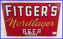 Vintage Rare Fitgers Nordlager Beer Metal Sign Duluth Minn MN 20inX14in