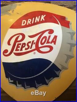 Vintage & Rare Metal Tear Drop Soda Advertising Sign Drink Pepsi Cola