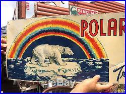 Vintage Rare OLD ORIG Polar Bear Flour Metal Sign With Rainbow & Iceberg Graphics