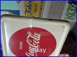 Vintage Rare Original Metal Coca Cola Menu Board Button Sign