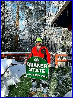 Vintage Rare Quaker State Motor Oil Tombstone Gas Metal Sign With Oil Well Graphic