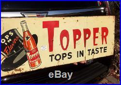 Vintage Rare Topper Orange Beverage Soda Pop Metal Sign With Top Hat Graphic 32X11