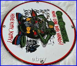 Vintage Rat Fink Ak-47 Gun 11 3/4 Porcelain Metal Gasoline & Oil Sign Nra Roth