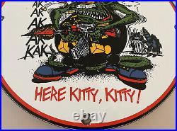 Vintage Rat Fink Gun Control Porcelain Sign Metal Gas Oil Nra Gun Control Roth