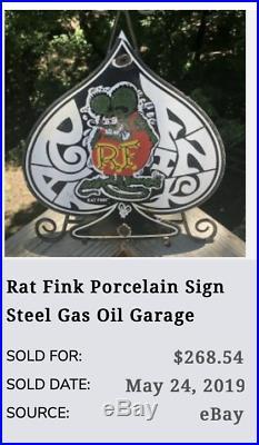 Vintage Ratfink Ace Of Spades 11 Porcelain Metal Gasoline & Oil Sign! Rat Fink