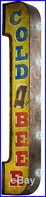 Vintage Retro Beer Marquee Bar Sign Lighted Cordless Double-Sided Antique Metal