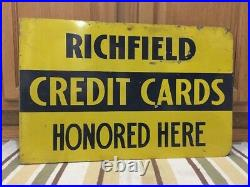 Vintage Richfield Credit Card Flange Sign Double Sided Metal Gas Oil Pump Can