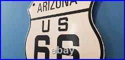 Vintage Route 66 Porcelain Metal USA Gasoline Highway Arizona Az Shield Sign