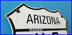 Vintage Route 66 Porcelain Metal USA Gasoline Highway Arizona Dot Shield Sign