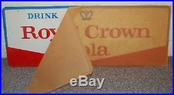 Vintage Royal Crown Cola Soda Advertising Metal Sign Embossed Mint & brown paper