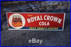 Vintage Royal Crown Cola metal embossed advertising sign 18x54 Very Rare