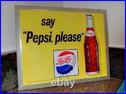 Vintage Say Pepsi Please Pepsi Cola M 239 Tin Metal Advertising Soda Pop Sign