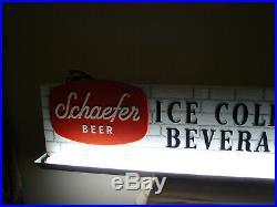 Vintage Schaefer Light Clock Metal Beer Sign Advertising 48 Long