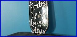 Vintage Schwinn Bicycle Porcelain Metal USA Company Gas Station Door Push Sign