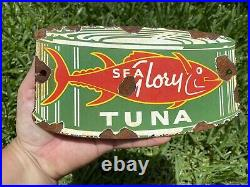 Vintage Sea Glory Tuna Can Porcelain Metal Fish Store Grocery Advertising Sign
