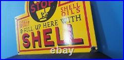 Vintage Shell Gasoline Porcelain Metal Gas & Oil Service Station Pump Sign