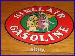 Vintage Sinclair Gasoline Flintstones Fred 11 3/4 Porcelain Metal Gas Oil Sign