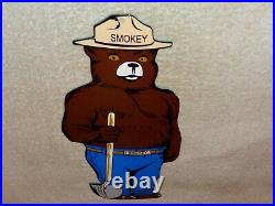 Vintage Smokey The Bear Us Forest Fire Prevention! 12 Metal Gasoline & Oil Sign