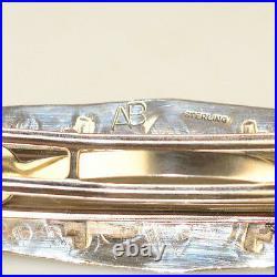 Vintage Southwestern Sterling Silver Turquoise Large Barrette Signed Ab