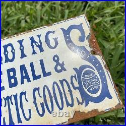 Vintage Spalding Porcelain Metal Baseball Athletic Sporting Goods Gas Oil Sign