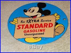 Vintage Standard Gasoline Mickey Mouse 6 Porcelain Metal Walt Disney Oil Sign