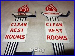 Vintage Standard Gasoline Torch Men & Women Die-cut Restroom 13 Metal Oil Sign
