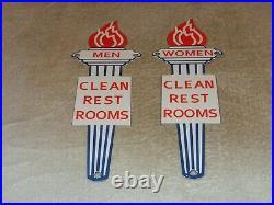 Vintage Standard Gasoline Torch Men +women Restroom 11 3/4 Porcelain Metal Sign