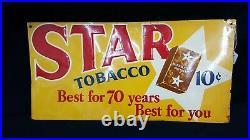 Vintage Star Tobacco Metal Advertising Sign