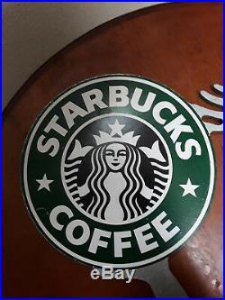 Vintage Starbucks Coffee Sign Metal Store Display Logo Advertising Rare