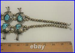 Vintage Sterling Silver 925 SQUASH BLOSSOM Navajo SIGNED Turquoise Necklace