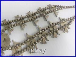 Vintage Sterling Silver 925 SQUASH BLOSSOM Signed I PEYOTE BIRD ZUNI Necklace