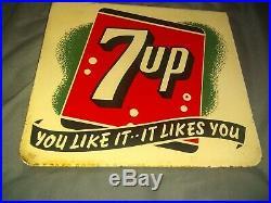 7-UP Soda Pop Bottle Two-Sided Store Flange Porcelain Metal Sign