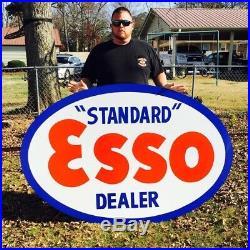 Vintage Style Hand Painted 4' X 6' ESSO Standard Dealer Metal Sign