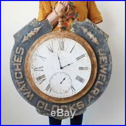 Vintage Style Trade Sign Giant Metal Jewelers Clock Striking Decor