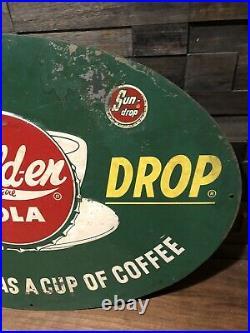 Vintage Sun Drop Golden Girl Cola Soda Advertising Tin Metal Oval Sign Original