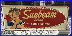 Vintage Sunbeam Bread Embossed Metal Sign Marked AM 4-62 USA Original