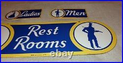 Vintage Sunoco Rest Room Double Sided Porcelain Metal Gasoline Oil Bathroom Sign