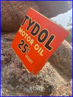 Vintage TYDOL MOTOR OIL 25Cent Quart Display Big Shelf Rack Metal Bumper Sign