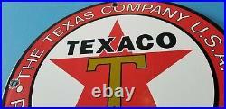 Vintage Texaco Gasoline Porcelain Metal Service Station Pump Plate Ad Sign