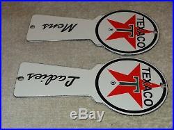 Vintage Texaco Mens Ladies Restroom Key 6 Porcelain Metal Bathroom Gas Oil Sign
