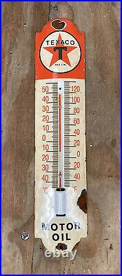 Vintage Texaco Porcelain Metal Thermometer Texas Oil & Gas Station Service Sign