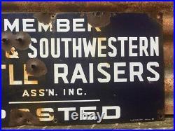 Vintage Texas Southwestern Cattle Porcelain Sign Cow Rustic Antique Farm Metal