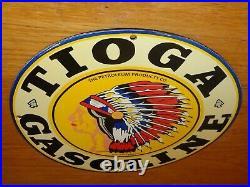 Vintage Tioga Indian Chief Gasoline 11 3/4 Porcelain Metal Petroleum Oil Sign