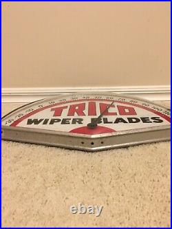 Vintage Trico Wiper Blades Metal Sign Thermometer, Pristine
