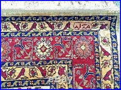 Vintage Turkish Hereke Silk Silver Metal Thread Prayer Rug Signed