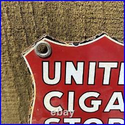 Vintage United Cigar Store Porcelain Metal Sign Dealer Tobacciana Gas Station